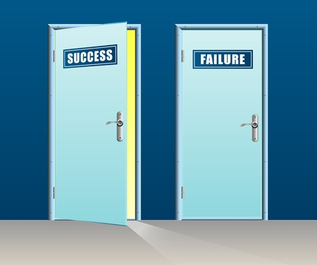 Success door open and failure close Stock Vector - 21774768