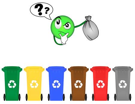 recycling bin: Selective sorting Illustration