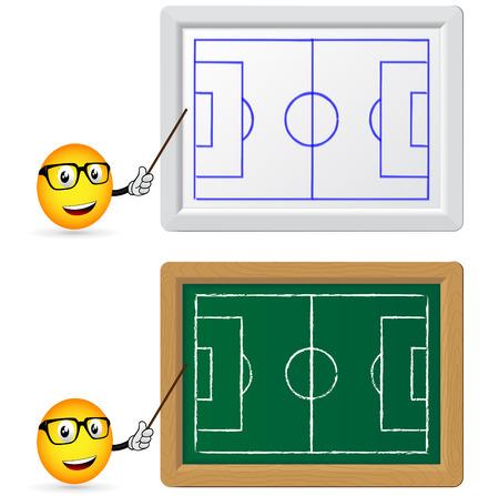Blackboard and slat board with football teacher Vector