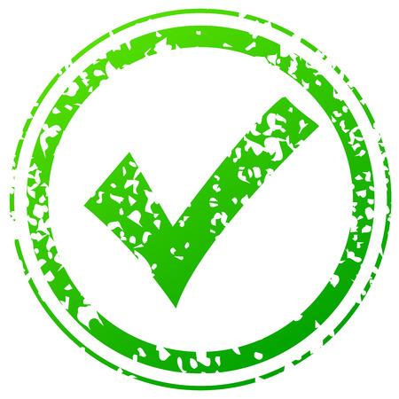 accreditation: Check green stamp Illustration