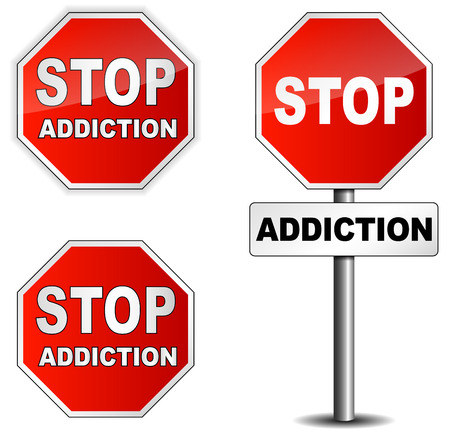 Stop addiction sign on white background photo