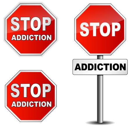 Stop addiction sign on white background photo