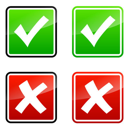 set of accepted and rejected icons on white background photo