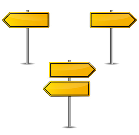 Yellow arrows sign on a white background photo