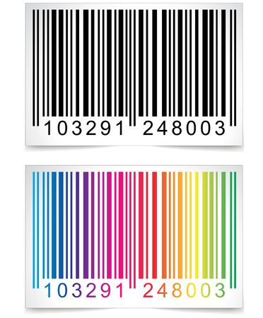 Illustration of colorful barcode on white background Ilustração