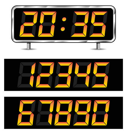 Illustration of timer with set of numbers