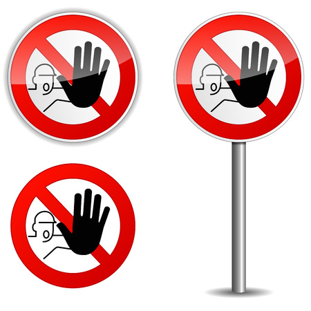 Illustration of no entry sign on white background