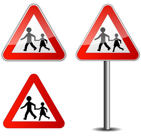 Illustration of childrens roadsign on white background