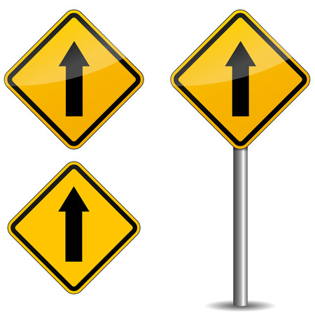 right arrow: Illustration of yellow road sign on white background
