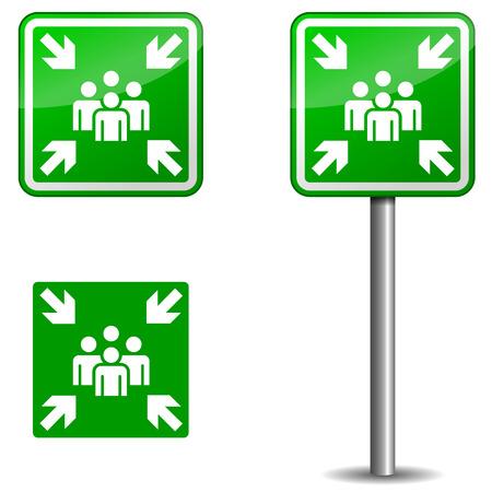 Illustratie van uithangbord voor Verzamelplaats