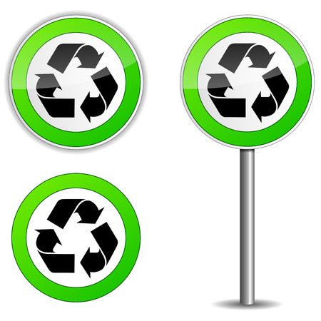 Vector illustration of recycle sign on traffic panel Vector