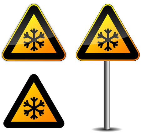 Vector illustration of snow roadsign on white background Vector