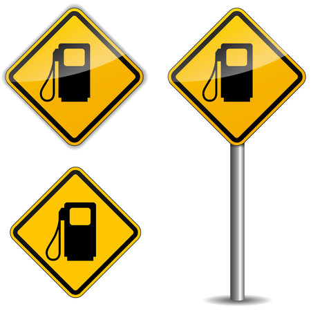 fuelling pump: Vector illustration of gas roadsign on white background