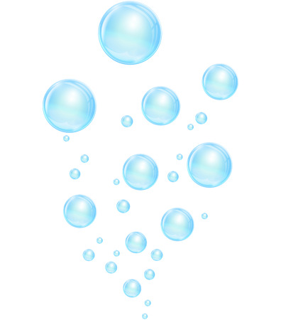 Vector illustration of blue bubbles on white background Vector