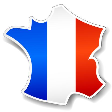 Vector illustratie van Frankrijk kaart in een papieren