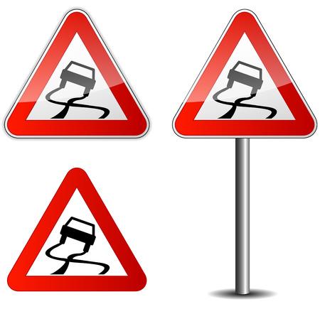 滑りやすい道路の道路標識のベクトル イラスト  イラスト・ベクター素材