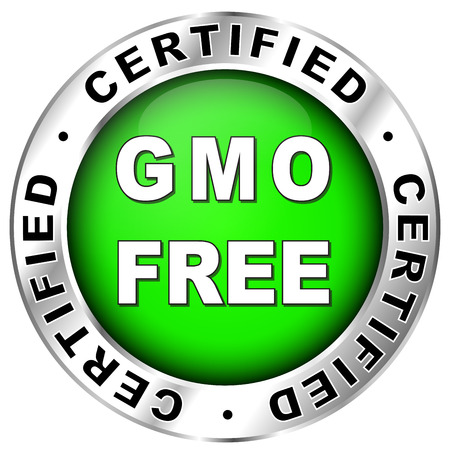 Vector illustration of green and chrome gmo free label