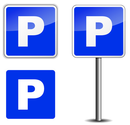 vector illustration of parking sin on white background