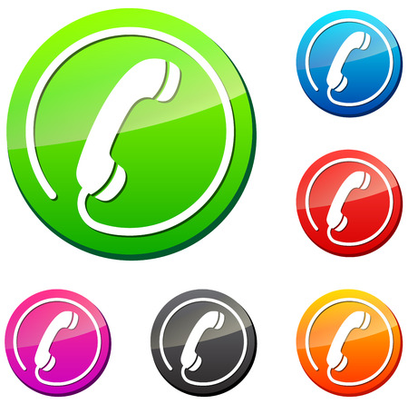 vector illustration of round phone icon on white background