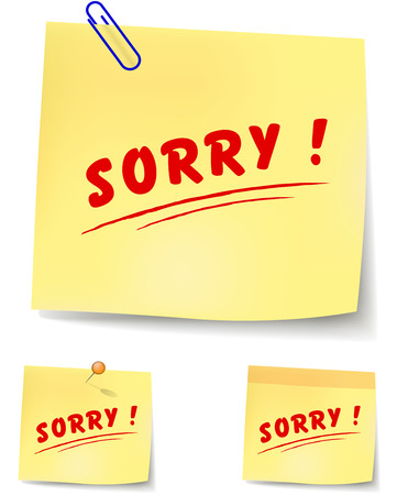 sorry: vector illustration of paper note to say sorry