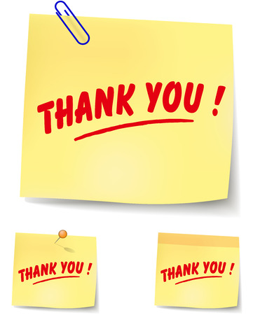 thank you note: vector illustration of yellow thank you note Illustration