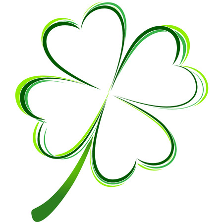 four: vector illustration of green clover picture Illustration