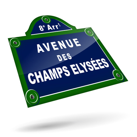vector illustration of parisian avenue plates on white background Vector