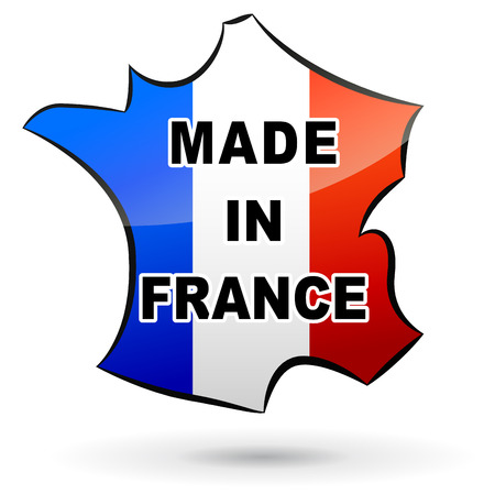 vector illustration of label  made in france  on white background