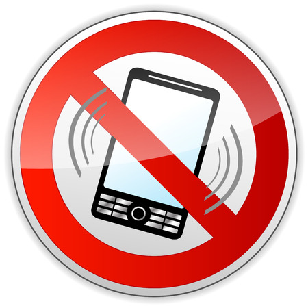 no cell: vector illustration of no phone sign on white background