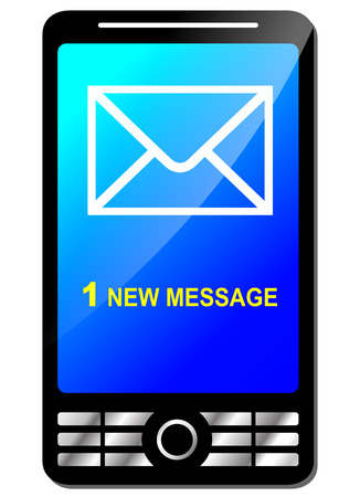 new message: Illustration of new message on modern phone Illustration