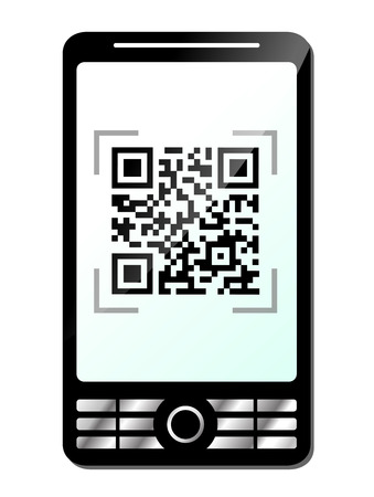 Illustration of phone with qr code on white  Vector