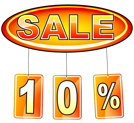 illustration of oval sale icon with percentage Vector