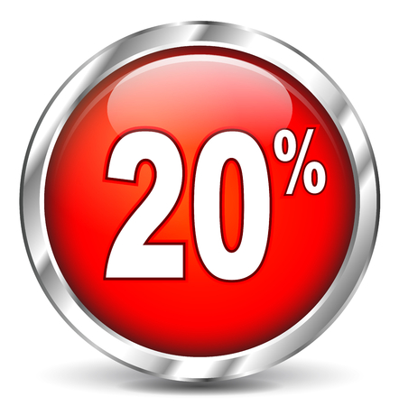 Illustration of red sale icon on white  Vector