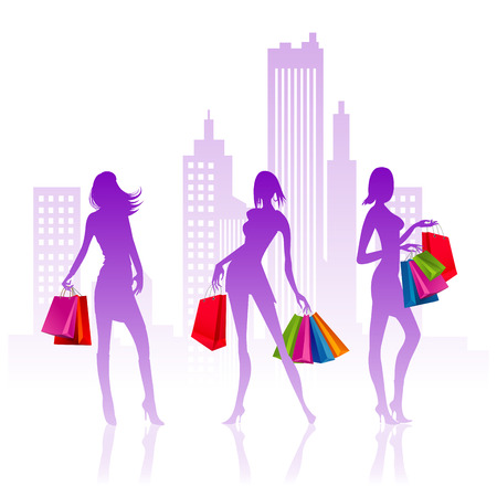vector illustration of ladies with bags for shopping Vector