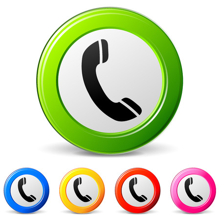vector illustration of telephone icons on white background Vector