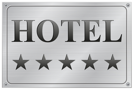 vector illustration of metal hotel five stars signboard on white background Vector