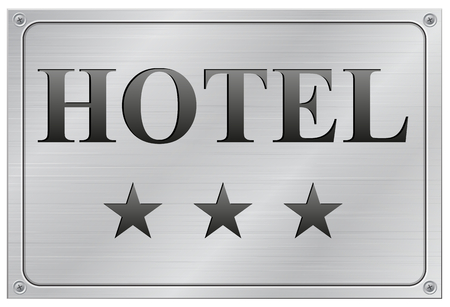 vector illustration of metal hotel three stars signboard on white background Vector