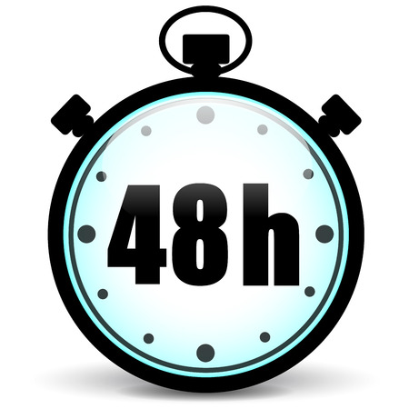 48: vector illustration of 48h stopwatch icon on white background