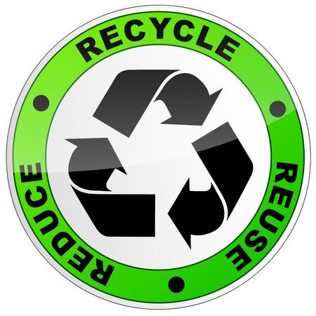 illustration vectorielle de signe de recyclage sur fond blanc