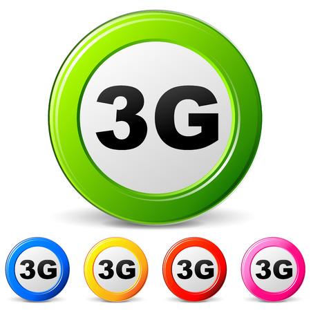 3g: vector illustration of 3g icons on white background