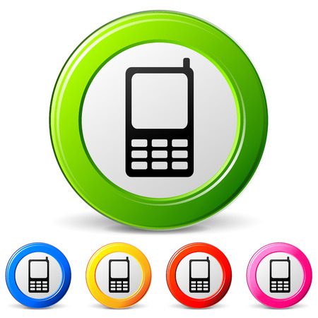 gsm: vector illustration of mobile phone icons on white background