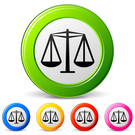 justness: vector illustration of law icons on white background