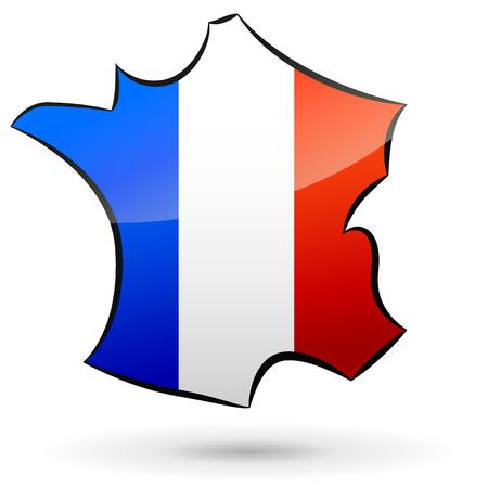Illustratie van de Franse kaart op een witte achtergrond Stock Illustratie