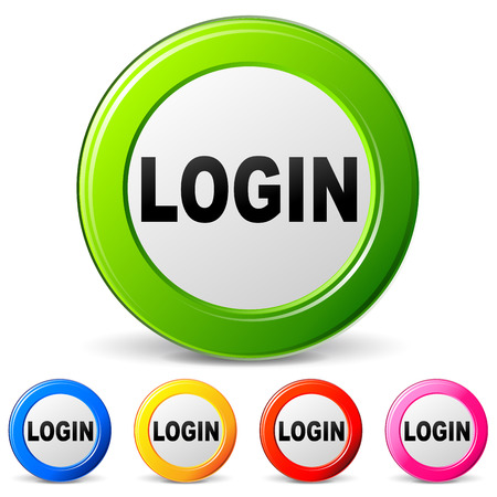 logging: Vector illustration of login icons on white background