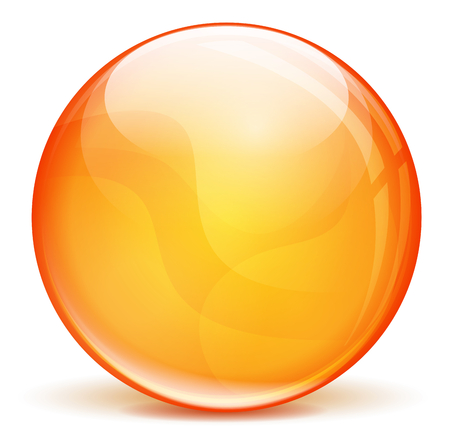 vector illustration of orange 3d bubble on white background Vector