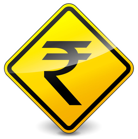 vector illustration of yellow rupee icon on white background Vector