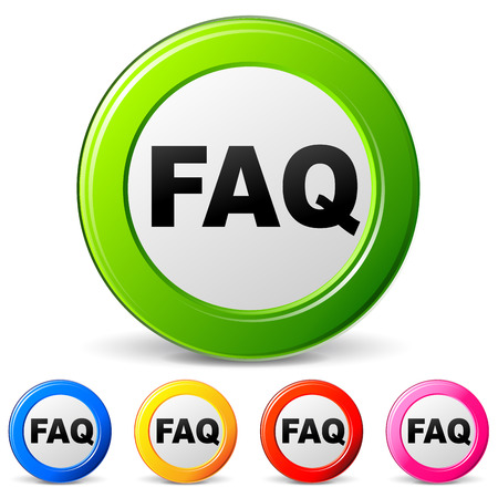 Vector illustration of faq icons on white background