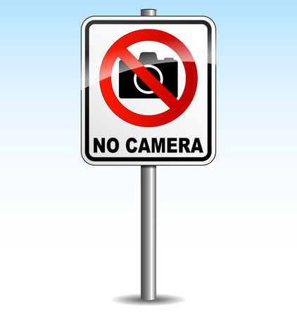 vector illustration of signboard for no camera on sky background Vector