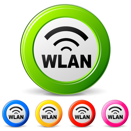wlan: vector illustration of wlan icons on white background