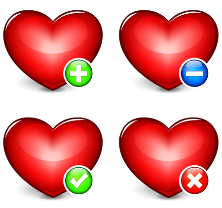 favorite colour: Vector illustration of hearts icons on white background Illustration